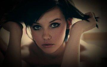 девушка, взгляд, волосы, лицо, пирсинг, мелисса кларк