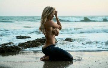девушка, море, поза, взгляд, волосы