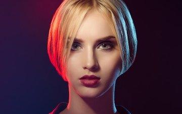 девушка, блондинка, портрет, взгляд, волосы, лицо, красные губы