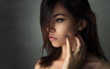 глаза, девушка, портрет, брюнетка, взгляд, волосы, губы, лицо