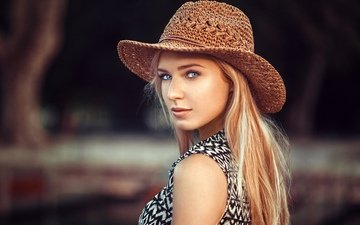 девушка, портрет, взгляд, модель, волосы, лицо, шляпа, ева, lods franck, ева микульски