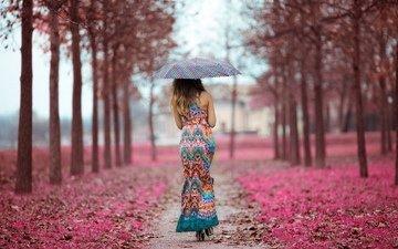 девушка, платье, зонт, аллея