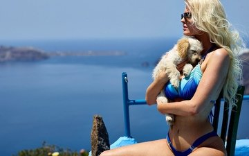 girl, blonde, glasses, dog, bikini
