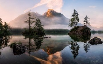 деревья, озеро, горы, восход, природа, отражение, пейзаж, туман, альпы, daniel fleischhacker