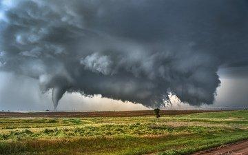 небо, природа, тучи, поля, весна, стихия, торнадо, derek burdeny