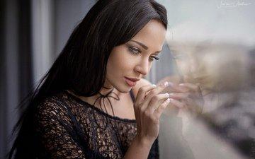 девушка, отражение, портрет, брюнетка, фотограф, окно, ангелина петрова, javier ullastres