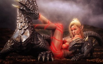 art, girl, fantasy, tattoo, dragons, elf