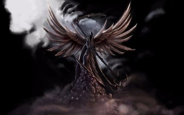 арт, фантастика, фэнтези, крылья, смерть, коса, черепа, темный ангел