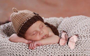 бабочка, сон, ребенок, малыш, младенец, шапочка
