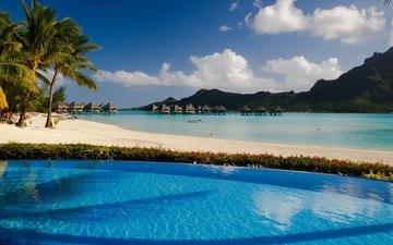 вода, природа, море, пляж, пальмы, бассейн, океан, остров, курорт, бунгало, тропики, отель, вилла, таити, бора-бора
