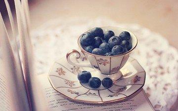 блюдце, ягоды, чашка, черника, салфетка, книга, страницы