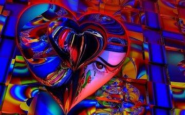 цвет, сердце, фрактал, искусство, 3д