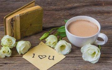 цветы, чашка, записка, горячий шоколад, альбом, эустома