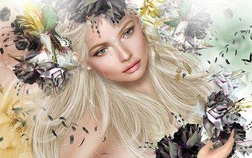 цветы, девушка, блондинка, капля, графика, перья, бабочки, венок, слеза, 3д