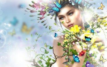 цветы, девушка, ветки, пузыри, графика, весна, бабочки, венок, 3д