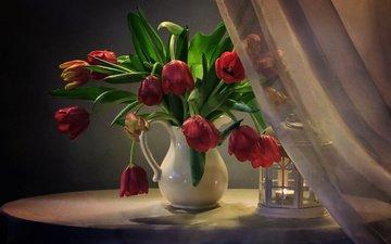 цветы, фонарь, ткань, тюльпаны, свеча, кувшин, столик, натюрморт, занавеска