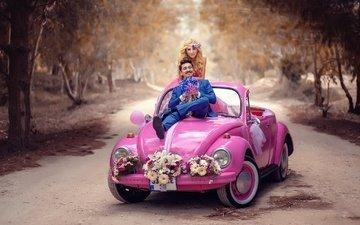 цветы, машина, авто, жених, свадьба, автомобиль, аллея, невеста
