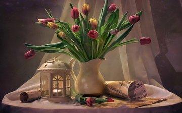 цветы, ноты, фонарь, ткань, тюльпаны, листы, свеча, кувшин, столик, натюрморт, занавеска, рулоны