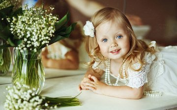 flowers, dress, lilies of the valley, girl, child, beads, decoration, necklace, pearl, baby