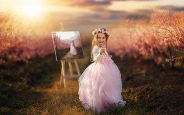 цветы, природа, картина, платье, улыбка, поле, дети, девочка, волосы, лицо, ребенок, венок, травы, алессандро ди чикко