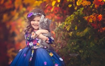 flowers, nature, dress, cat, autumn, girl, child, animal, laughter