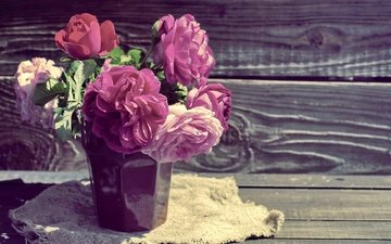 цветы, розы, доски, ткань, букет, мешковина