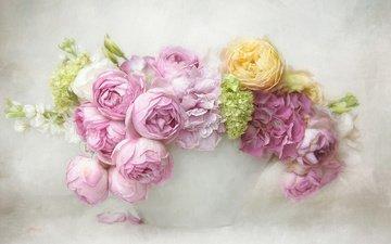 цветы, розы, рендеринг, букет, гортензия