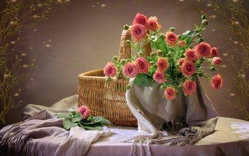 цветы, розы, ткань, корзина, коллаж, столик, натюрморт, шарф