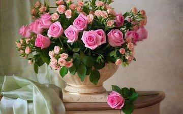 цветы, розы, ткань, букет, ваза, тумбочка