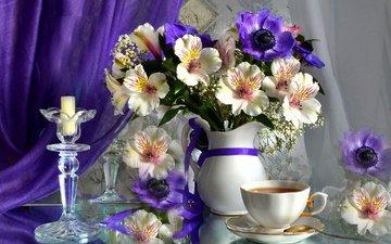 цветы, свечи, блюдце, букет, чашка, чай, кувшин, занавеска, альстромерия, анемоны