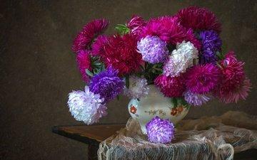 цветы, ткань, ваза, столик, натюрморт, астры