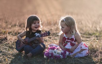 flowers, grass, field, guitar, children, girl, boy, agnieszka gulczynska