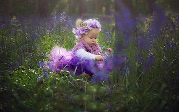 цветы, трава, природа, бабочка, девочка, ребенок, венок, орхидеи, малышка, aga tetera