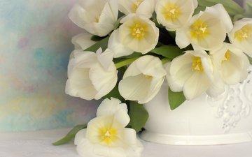 цветы, букет, тюльпаны, белые, ваза