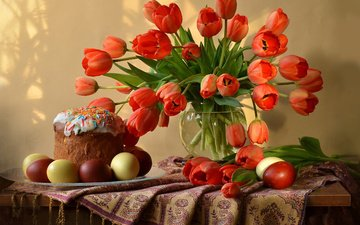 flowers, tulips, vase, easter, eggs, holiday, plate, table, still life, cake, scarf