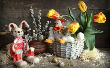 flowers, branches, board, basket, toys, easter, eggs, holiday, daffodils, hare, chicken, verba