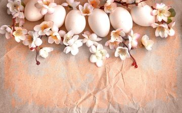 flowers, branches, vintage, paper, spring, easter, eggs, holiday