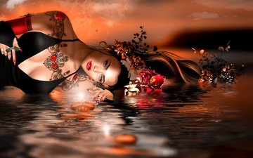 flowers, water, girl, brunette, graphics, boat, 3d