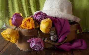 цветы, вода, стиль, капли, дождь, шляпа, чемодан, шарф, инна сухова