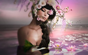 flowers, water, decoration, girl, brunette, horizon, graphics, birds, braid, wreath, lotus, 3d