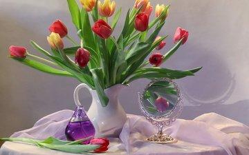 цветы, зеркало, ткань, тюльпаны, кувшин, духи, столик, натюрморт, флакон
