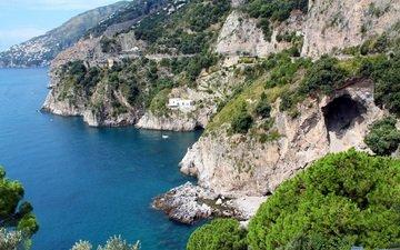деревья, горы, камни, море, побережье, дома, пещера
