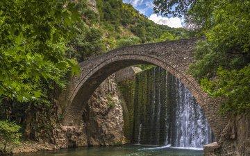 деревья, река, горы, мост, плотина