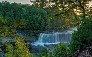 деревья, река, водопад, осень, поток, природа. водопад