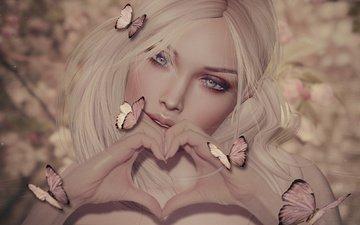 girl, blonde, heart, graphics, butterfly, hands, 3d