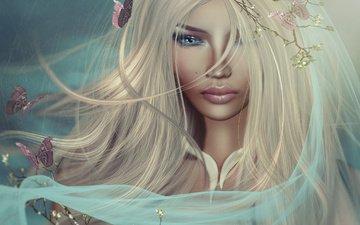 девушка, блондинка, ветки, графика, весна, бабочки, макияж, вуаль, 3д