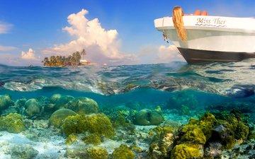 девушка, море, лодка, отдых, остров, тропики