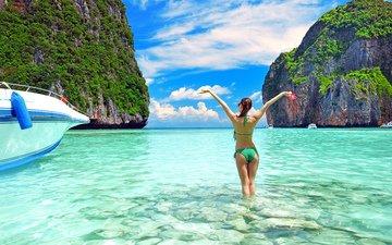 девушка, море, лодки, острова, отдых, таиланд