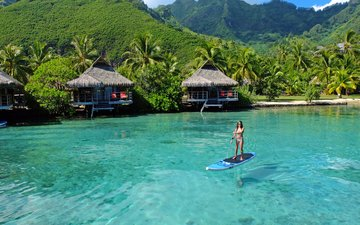 девушка, море, пляж, отдых, бунгало, тропики