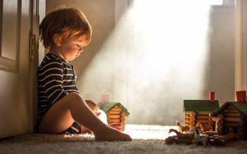 дверь, дети, игрушки, ребенок, мальчик, малыш, ковер, adrian c. murray